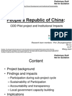 People's Republic of China:CDD Pilot project and Institutional Impacts (Not for Quotation)
