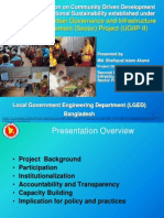 Community Driven Development and Institutional Sustainability established under Second Urban Governance and Infrastructure Improvement (Sector) Project (UGIIP-II)
