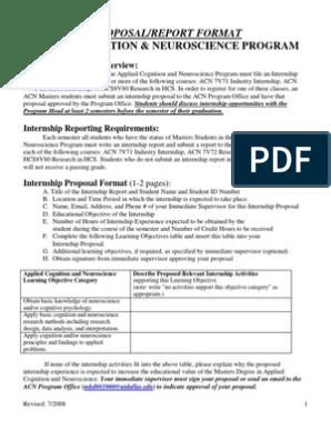 Internship Report Format | Internship | Course Credit