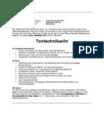 Ausschreibung Tontechniker 2011