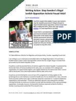 MFI Letter Writing - Stop Swedens Illegal Deportation of Kurdish Opposition Activist Fouad Velzi