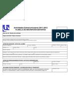 Planilla de Inscripcion Deporte 2011-2012