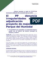 El PP denuncia irregularidades en la adjudicación del proyecto de mejora del Parque del Humedal