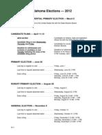 2012 Oklahoma Elections Calendar