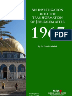 An Investigation Into the Transformation of Jerusalem After 1967
