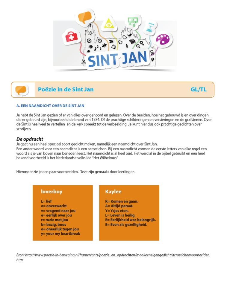 Nederlands 3 Poëzie In De Sint Jan