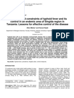 Research Paper on Prevalence of Typhoid Fever