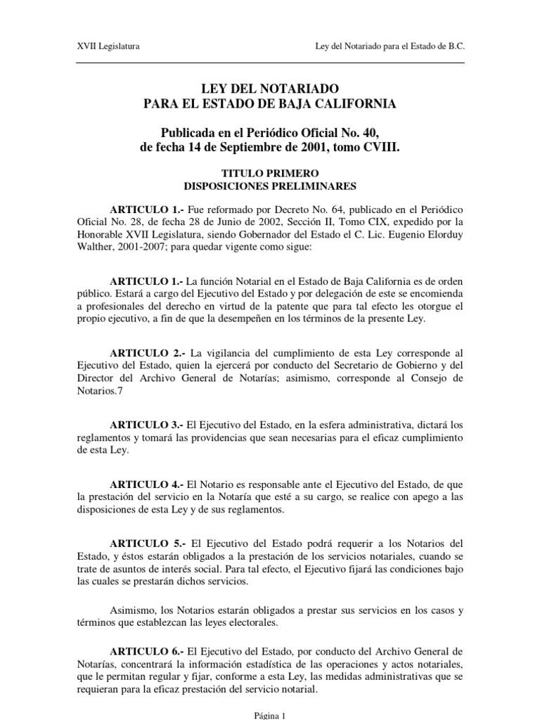 Ley de Notariado de Baja California