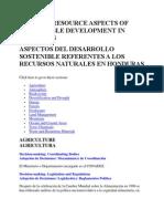 Aspectos Del Desarrollo Sostenible Referentes a Los Recursos Naturales en Honduras