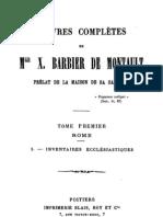 Oeuvres Completes de Mgr X.barbier de Montault (Tome 1)