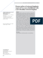 Porous surface of extraoral implants report of two cases rehabilitated with a new Brazilian extraoral implant