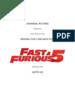 Fast and Furious 5 Notas de Produccion