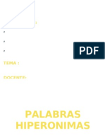 PALABRAS HIPERONIMAS
