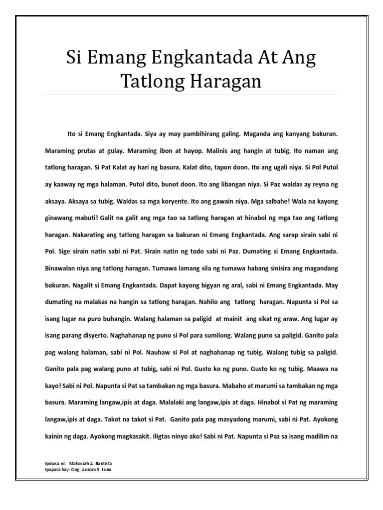 si pilong patago tago pdf