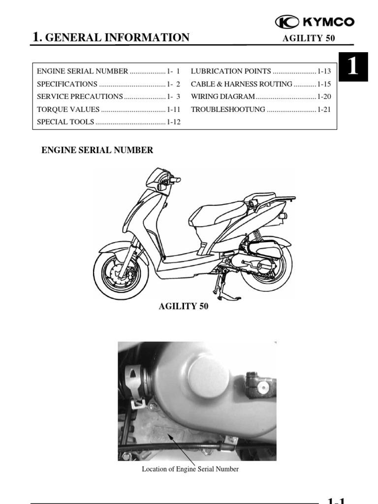 Agility50 Cap 01 Info Generali Carburetor Ignition System Kawasaki Kmx 125 Wiring Diagram