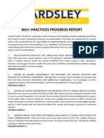 Best Practices Progress Report