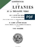 Conférences sur les litanies de la Très-Sainte Vierge - P. Justin de Miecklow - ( tome 3 )