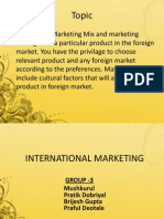 International Marketing new product launch