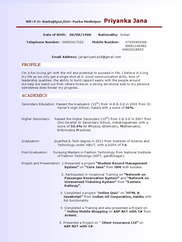 Priyanka My Nift Resume Secondary School Software