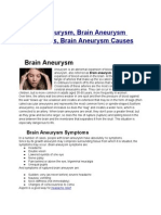 Brain Aneurysm, Brain Aneurysm Symptoms, Brain Aneurysm Causes