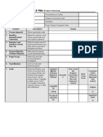 Six Sigma Project Charter form