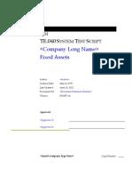 Fixed Assets Test Script