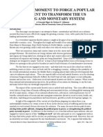 Seizing the Moment to Forget a Popular Movement to Transform the US Banking Monetary System