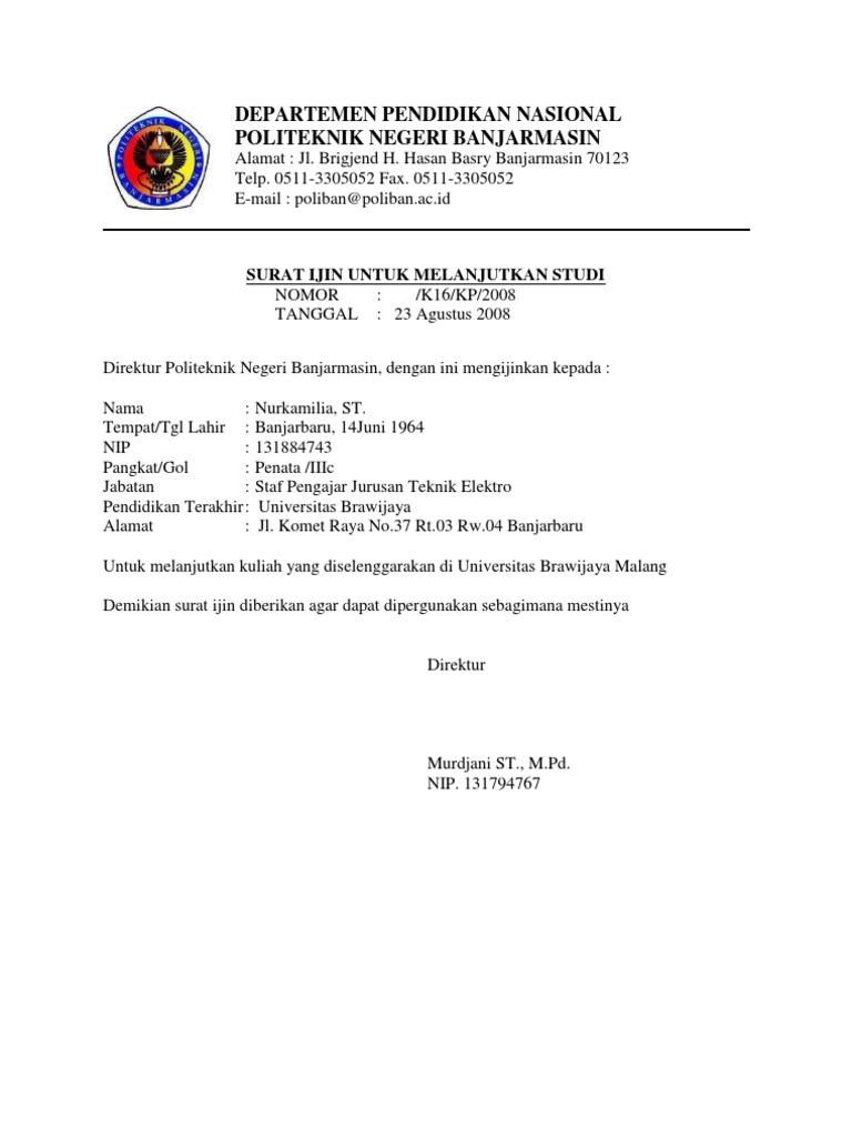 Contoh Surat Permohonan Izin Melanjutkan Kuliah S2 ...
