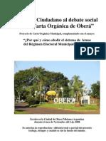 Aporte Ciudadano al debate social de la Carta Orgánica de Oberá. Autor