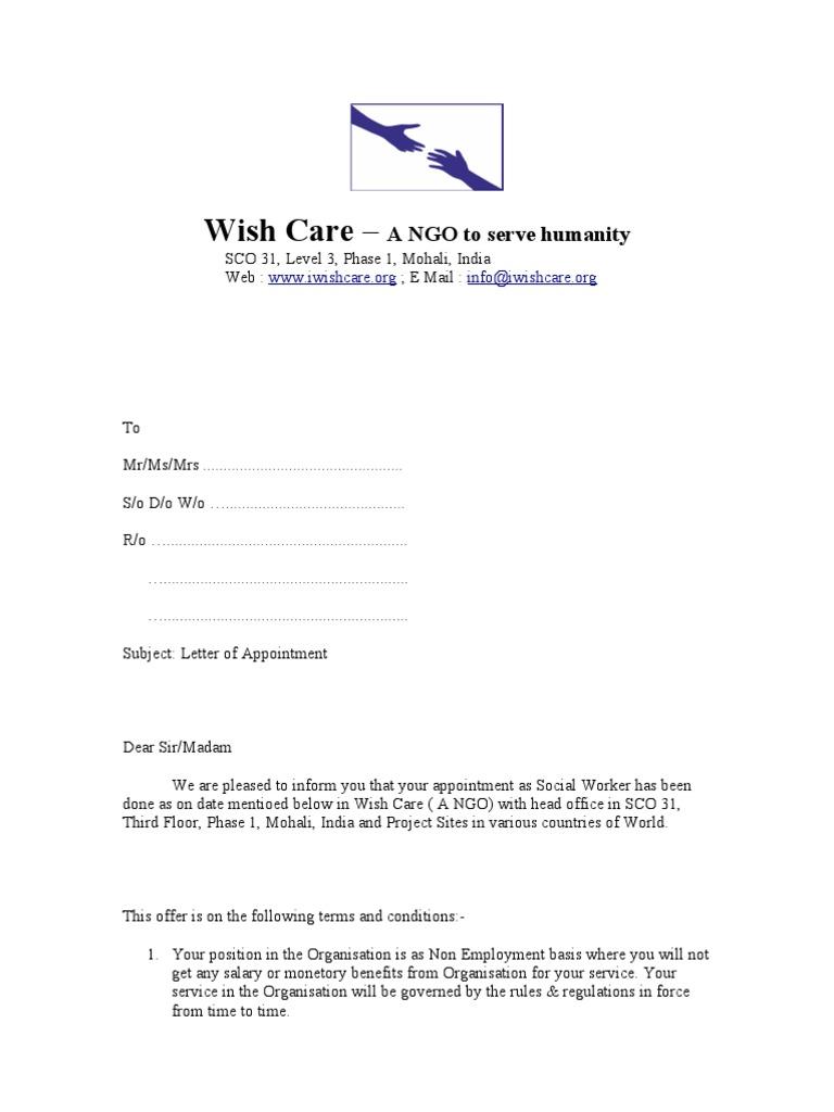 Appointment letter social workers signature welfare altavistaventures Choice Image