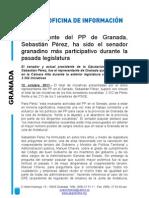 El presidente del PP de Granada, Sebastián Pérez, ha sido el senador granadino más participativo durante la pasada legislatura