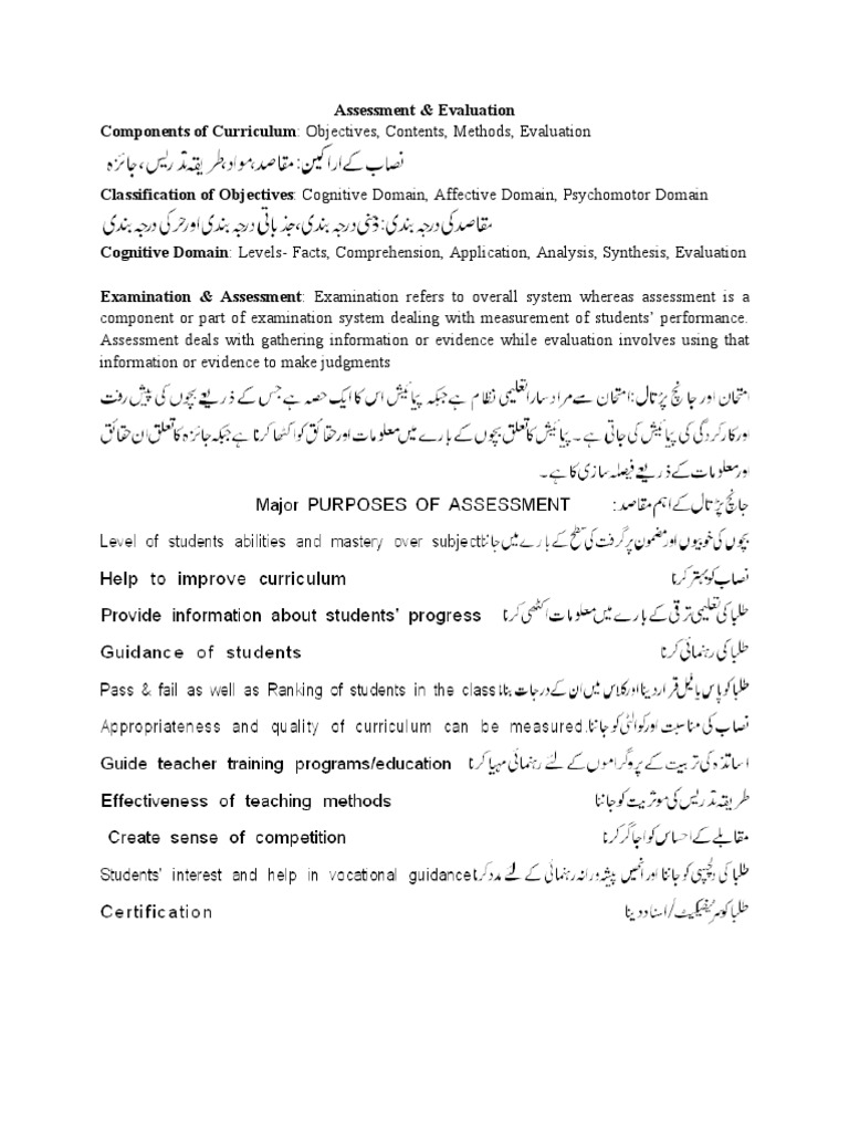 Assessment Amp Evaluation With Urdu Educational Assessment Evaluation Assessment involves the use of empirical data on student learning to refine programs and improve assessment is the systematic basis for making inferences about the learning and development of. assessment amp evaluation with urdu