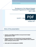 Development of the National Strategic Framework Programme for RTDI (ESPEK)