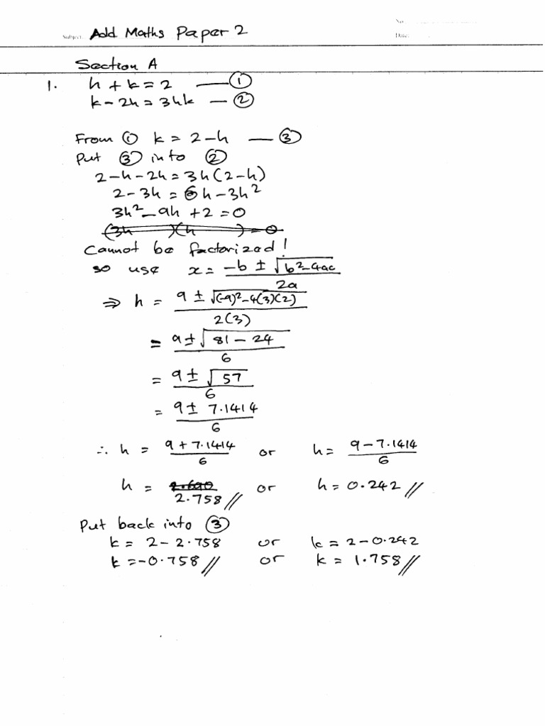 Answer For Add Maths Paper 2 Penang Malaysia Spm 2011 Trial Paper