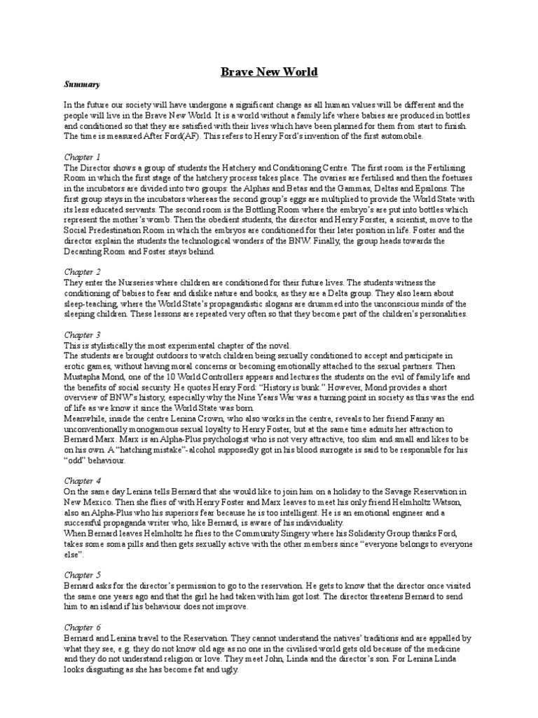 essay on brave new world