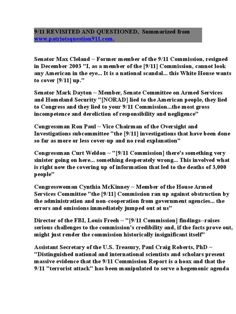 911 revisited | 9/11 commission | september 11 attacks