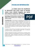 El PP de La Zubia pone de manifiesto la denuncia que puso ante la fiscalía sobre unos cobros ilegales por parte del anterior Gobierno del PSOE
