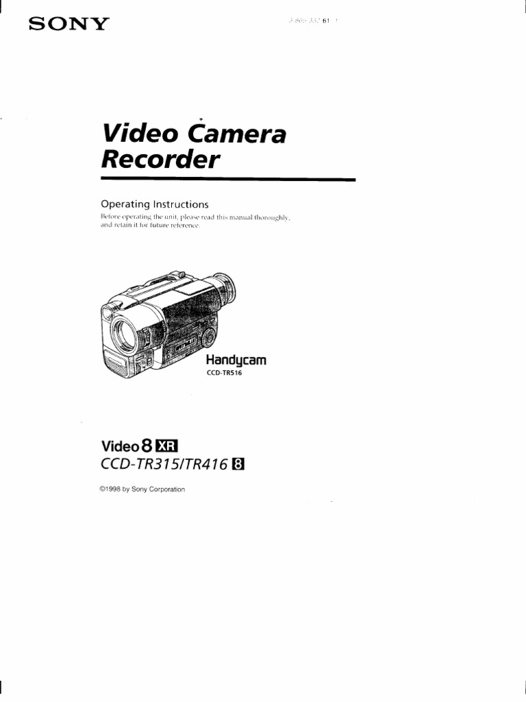 CCD-TR416 Sony Handycam Manual