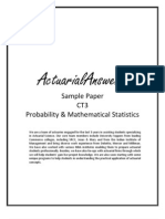 Actuarial CT3 Probability & Mathematical Statistics Sample Paper 2011