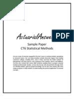 Actuarial CT6 Statistical Methods Sample Paper 2011