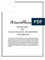 Actuarial CT5 General Insurance, Life and Health Contingencies Sample Paper 2011
