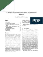 Integração da língua e cultura no processo  tradução