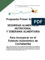 Seguridad Alimentaria Nutricional y Soberanía Alimentaria1er Borrador de propuesta