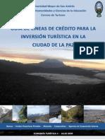 GUÍA DE LÍNEAS DE CRÉDITO PARA LA INVERSIÓN TURÍSTICA EN LA CIUDAD DE LA PAZ