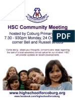HSC community meeting hosted by Coburg primary School