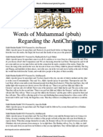 Words of Muhammad (Pbuh) Regarding the Antichrist