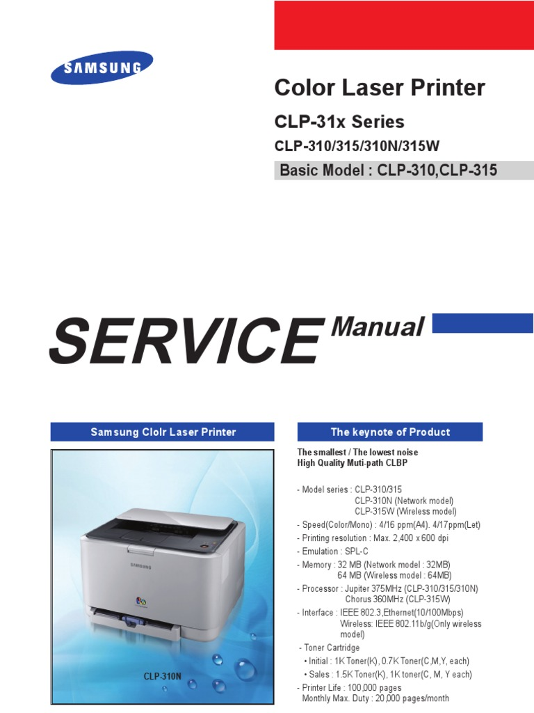 Samsung CLP-310 series printer service manual | Electrostatic Discharge |  Ac Power Plugs And Sockets