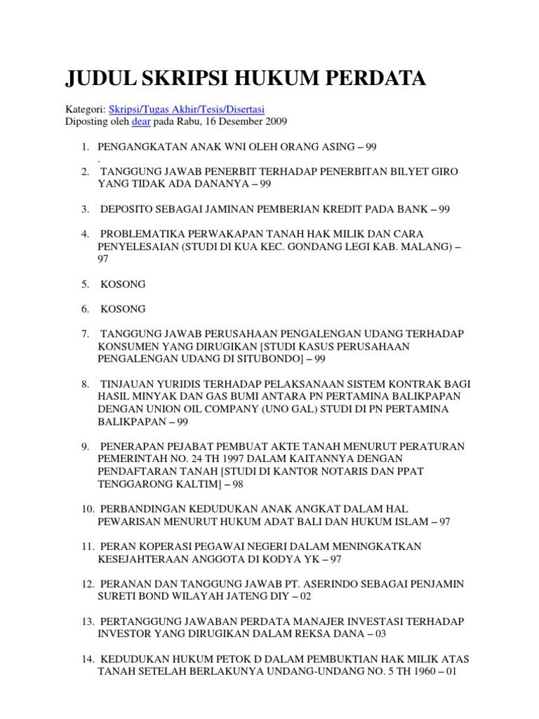 Skripsi Hukum Perdata