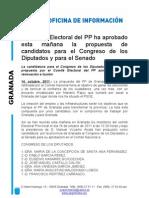 Candidatura Congreso y Senado PP Granada