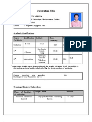 Cv For Tcs Technology Computing And Information Technology